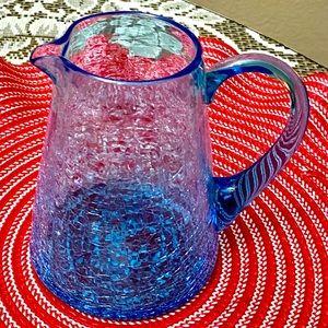 "VINTAGE AQUA BLUE ""URANIUM"" CRACKLE GLASS PITCHER"